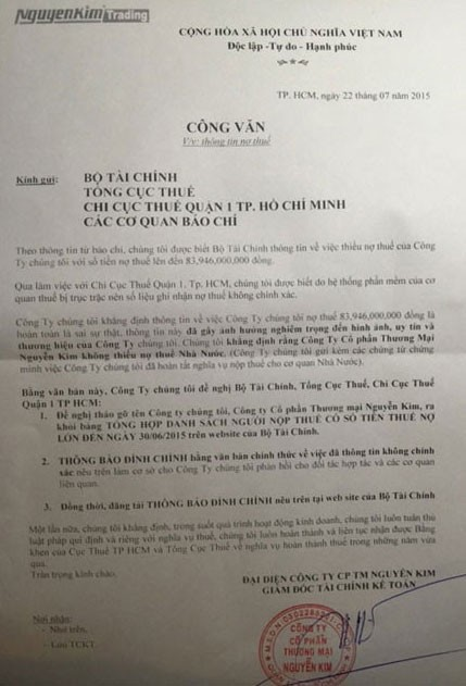 Nguyễn Kim gửi văn bản đề nghị Bộ Tài chính đính chính thông tin về nợ thuế.bulong