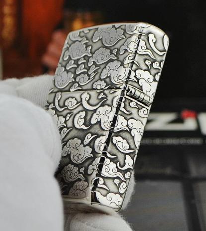 quẹt zippo bạc khối