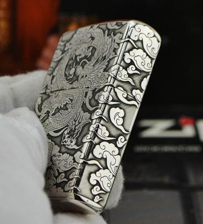 zippo bạc 925 rồng 1