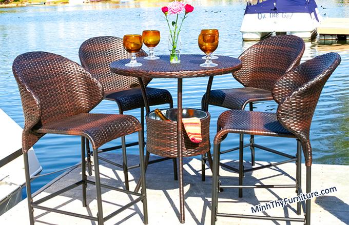 Bộ bàn ghế bar MT815 - Sản phẩm nội thất nhựa giả mây Minh Thy