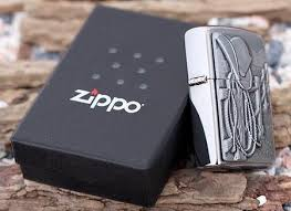 Zippo Cowboy Hat and Rope Emblem Brushed Chrome