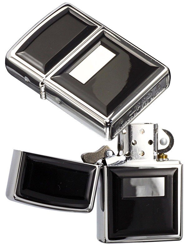 Zippo Ultralite Black Emblem High Polish Chrome