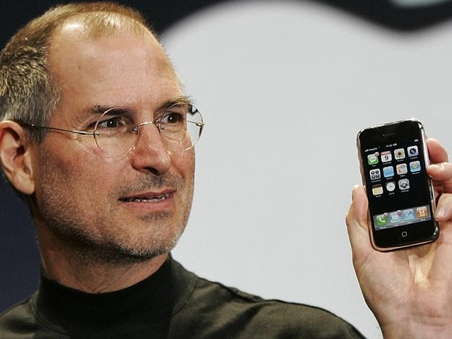 Seventh anniversary ... The late Apple CEO Steve Jobs demonstrates the new iPhone at MacW