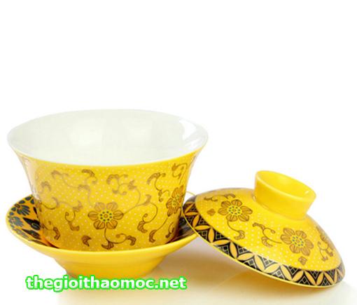 Chung trà hoa văn