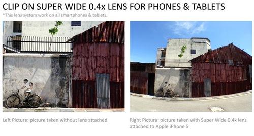 Cho thuê ống kính góc siêu rộng super wide 0.4 mở rộng khung hình cho mọi smartphone, máy tính bảng