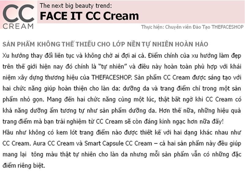 CC Aura color control cream The face shop SPF 30 PA ++