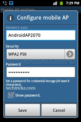 Configure Wifi hotspot on Android 2