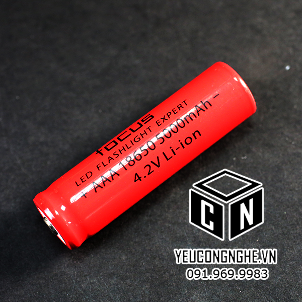 Pin sạc 4.2V cho đèn pin Focus Lithium Ion rechargeable 186500