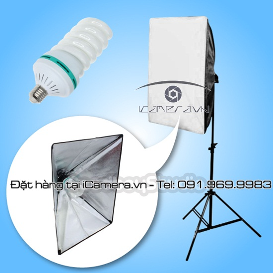 Đèn studio 150w 5500K CFL Daylight Balanced Bulb kèm softbox 50x70