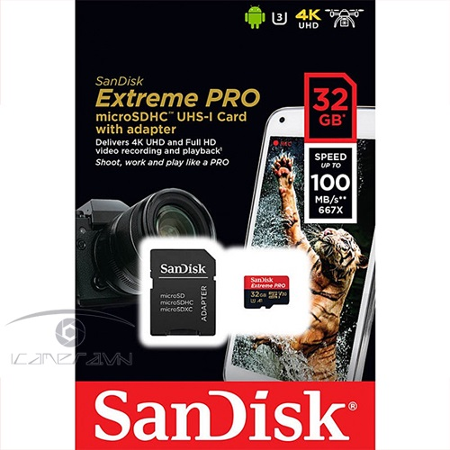 Thẻ nhớ 32GB Extreme Pro Micro SD 100mb/s SanDisk SDSQXCG-032G-GN6MA