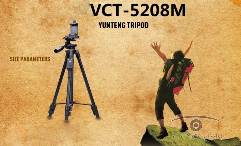 Chân tripod Yunteng VCT-5208 cho máy ảnh, điện thoại kèm điều khiển Bluetooth