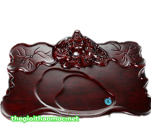 Khay trà gỗ tượng Phật Di Lặc màu đỏ
