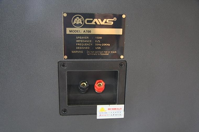 Thông số kĩ thuật, tem bảo hành và logo của Loa CAVS A700